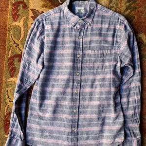 Old Navy Button Down Shirt, Blue and Red Striped